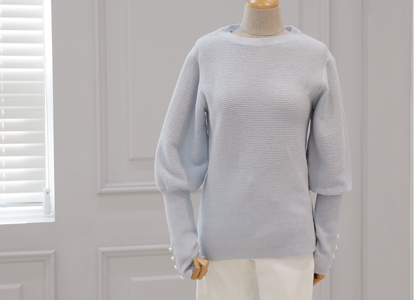 Elegant Puff-Sleeve Pearl Knit