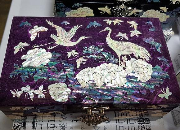Purple Rectangular Jewellery Box with Single Compartment