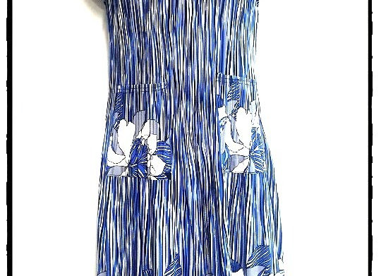 Blue Stripe Pleated Lily Patterned Short Sleeved Dress