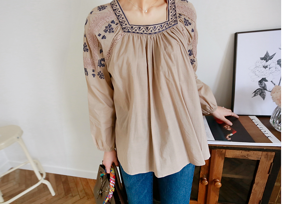 Exotic Style Embroidered Blouse with Square Neck-Line