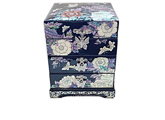 Mother of Pearl 3 Drawer Chest Jewellery Box with Magnolia Blossoms Design