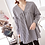 Thumbnail: Shirring Chest-Line V-Neck Checquered Blouse