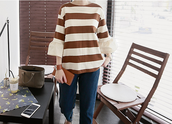 Cute 3/4 Frilled Sleeve Stripe Top