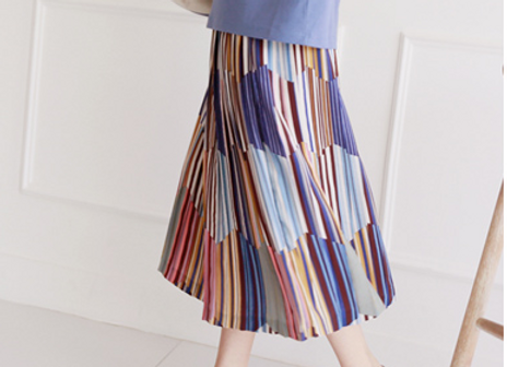 Color Palette Pattern Pleats Skirt