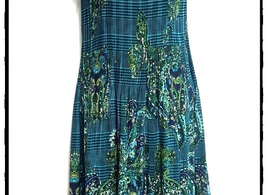 Green Pleated Paisley Patterned Short Sleeved Dress