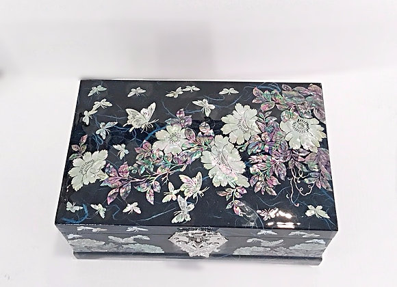 Mother of Pearl Large Hanji Jewellery Box Inlaid with Peony Blossoms