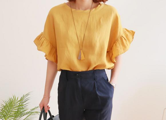 Frilled Short Sleeve Linen Tunic Top