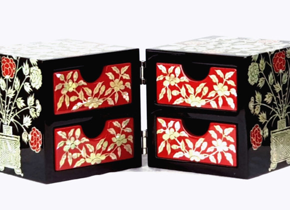 Magnetic Closure Twin Cubic Jewellery Box with Peony Blossom Design