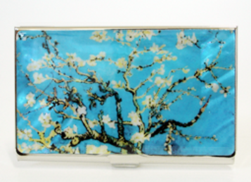 Mother of Pearl Anti Scan Credit Card Case with Almond Blossoms by Van Gogh