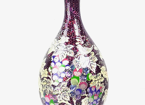 Mother of Pearl Inlaid Burgundy Vase with Grapevine Design