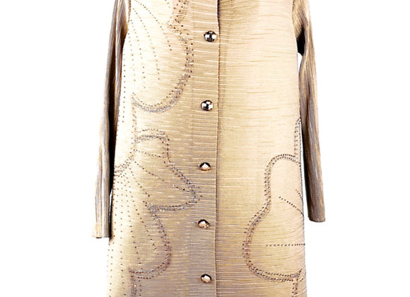 Golden Brown Pleated Flower Patterned Elasticated Coat Dress