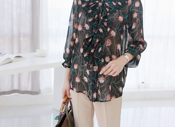 C-Through Flower Patterned Blouse with Pleated Front Frill