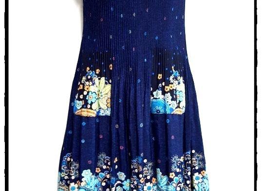 Navy Blue New Etro Style Patterned Short Sleeved Dress