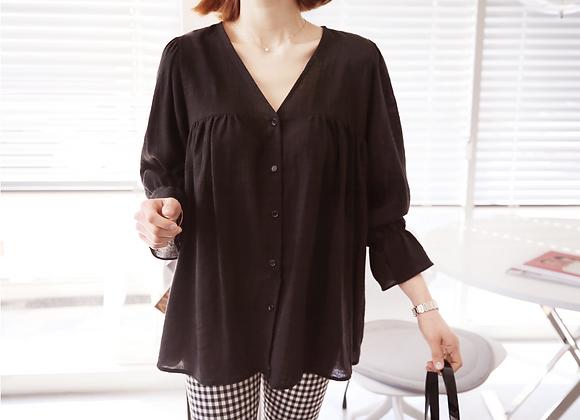Sweet Style Shirring V-Neck Blouse