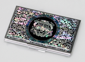 "Mother of Pearl Anti Scan Credit Card Case with Korean ""Goblin"" Mask Design"