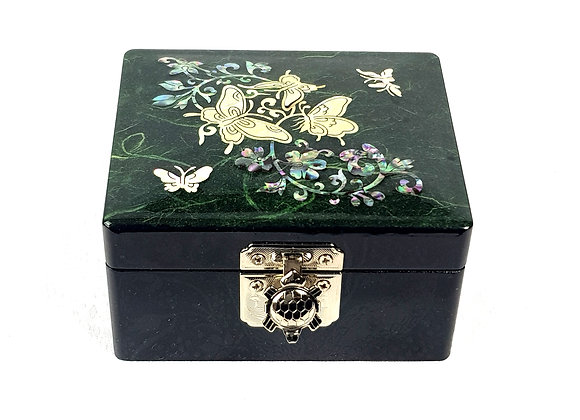"Small ""Hanji"" Square Jewellery Box - Green"