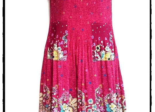 Dark Pink Pleated New Etro Style Patterned Short Sleeved Dress