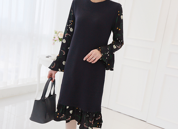 Kara Flower Pattern Frilled Dress