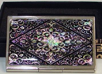 Mother of Pearl Credit Card Holder Wallet with Arabesque Design