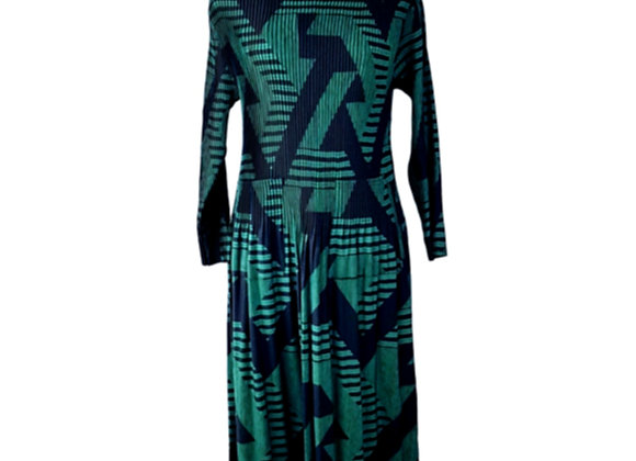 Dark Green Pleated Diagonal Patterned Elasticated Dress