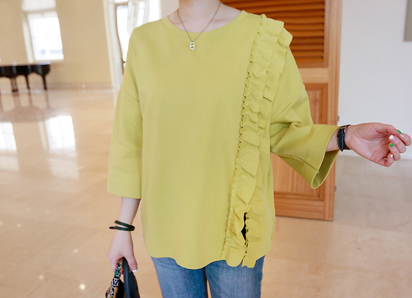 3/4 Sleeved Vertical Frill Top