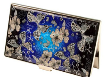 Anti Scan Credit Card Case with design of Blue Butterflies and Flowers