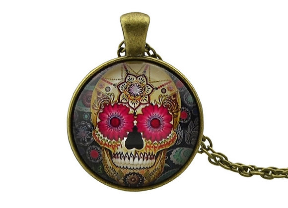 Bronze Vintage Colorful Skull Long Pendant Necklace