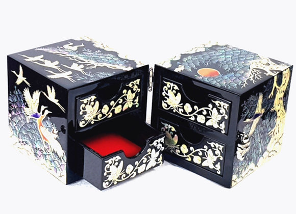 Black Twin Cubic Jewellery Box with Cranes and Pine Tree Design