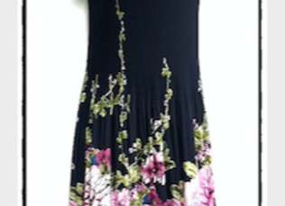 Navy Blue Pleated Water Lily Patterned Short Sleeved Dress