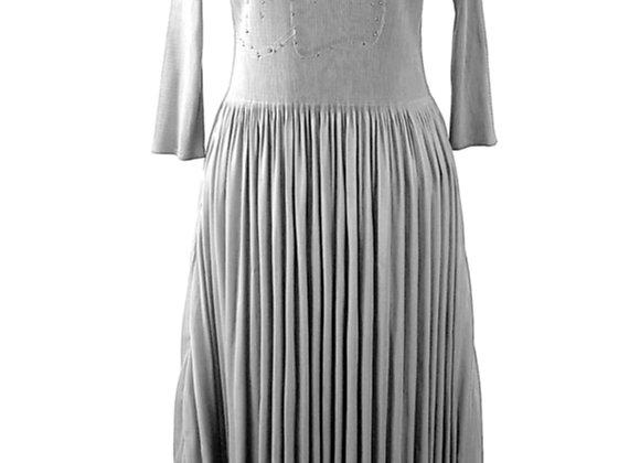 Silver Grey Pleated Flower Pattern Beaded Elasticated Long Dress