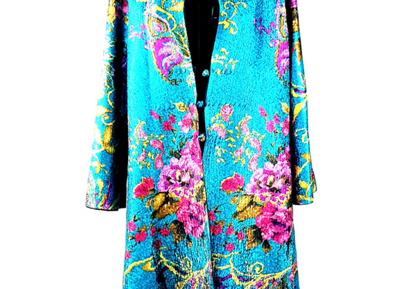 Blue Silk Effect Embossed Fabric Floral-Patterned Reversible Coat