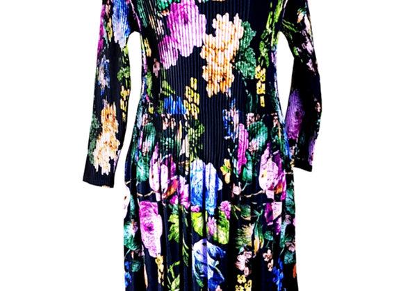 Black Pleated Blue & Pink Flower Patterned Elasticated Dress
