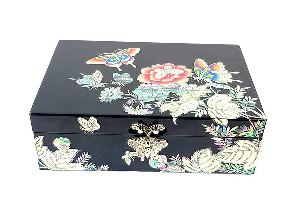 Single Compartment Black Chest Box with Design of Peony Blossom and Butterflies