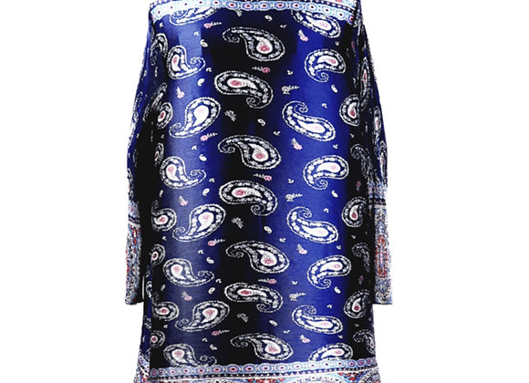 Navy Blue Pleated Paisley Patterned Half Neck Tunic Top