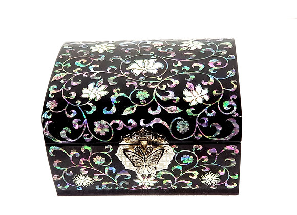 Dome Style Square Chest Jewellery Box with Arabesque Design