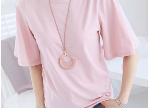 Stylish Boat Neck Short Bell Sleeve Top