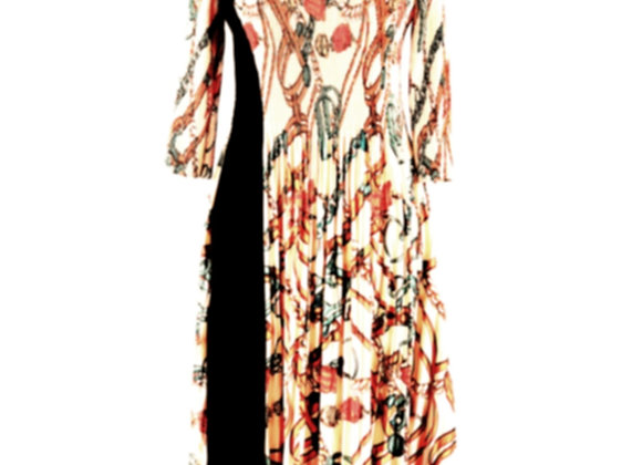 Bright Beige Pleated Floral Knot Chain Printed Elasticated Dress