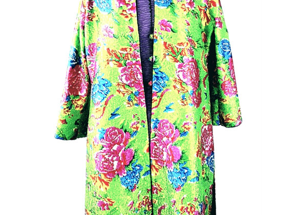 Light Green Silk Effect Embossed Fabric Floral-Patterned Reversible Coat