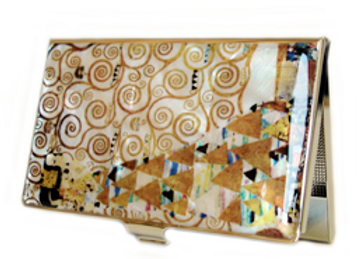Mother of Pearl Anti Scan Credit Card Case with Expectation by Gustav Klimt