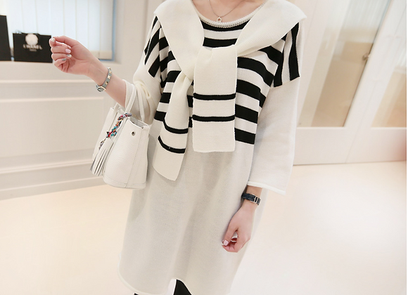 Shoulder Cuddle Stripe Tunic Dress