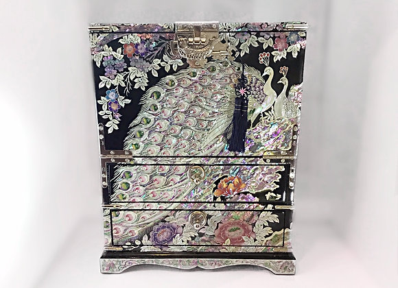 Mother of Pearl Peacock Chest Jewellery Box with Lockable Drop-Down Door