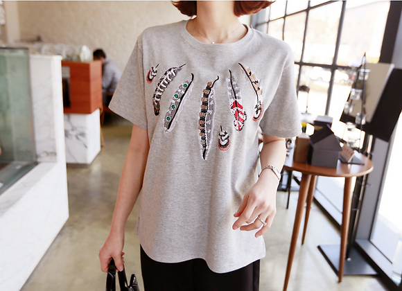 Feather Embroidered Half Sleeve T-Shirt