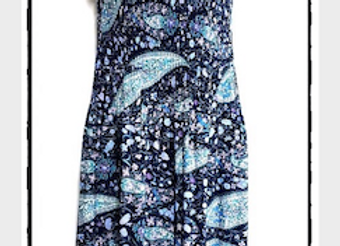 Navy Blue Pleated Paisley Patterned Short Sleeved Dress