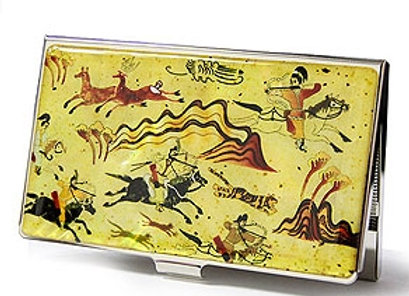 Mother of Pearl Anti Scan Credit Card Case with Traditional Hunting Scene Design