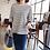 Thumbnail: Cute Color Block 3/4 Sleeved Stripe Top