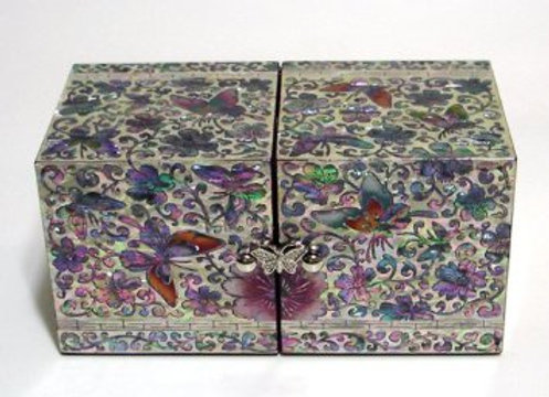 Mother of Pearl Twin Cubic Jewellery Box Set with Butterflies Design