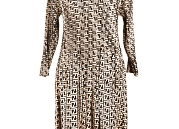 Beige Pleated Fendi Style Geometric Patterned Elasticated Dress