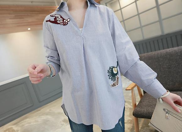 Kara Embroidered Stripe Shirt