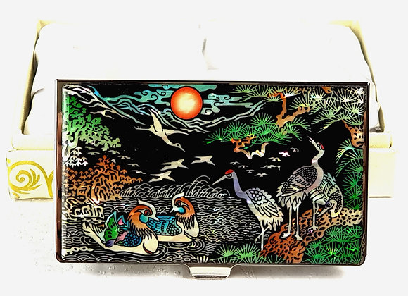 Anti-Scan Credit Card Wallet with Cranes and Mandarin Duck Design