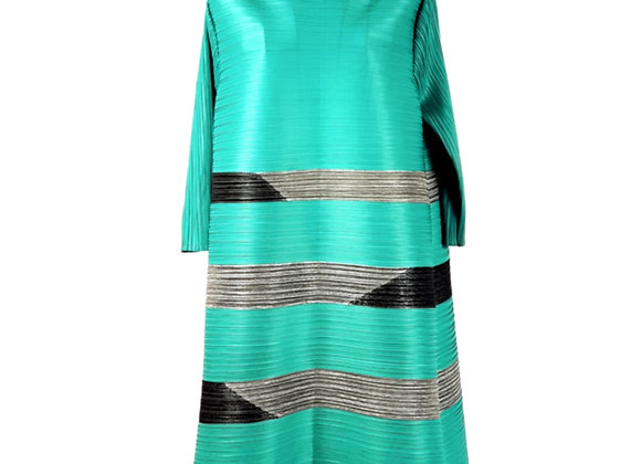 Turquoise Pleated Vertical Line Patterned High Boat Neck Tunic Top